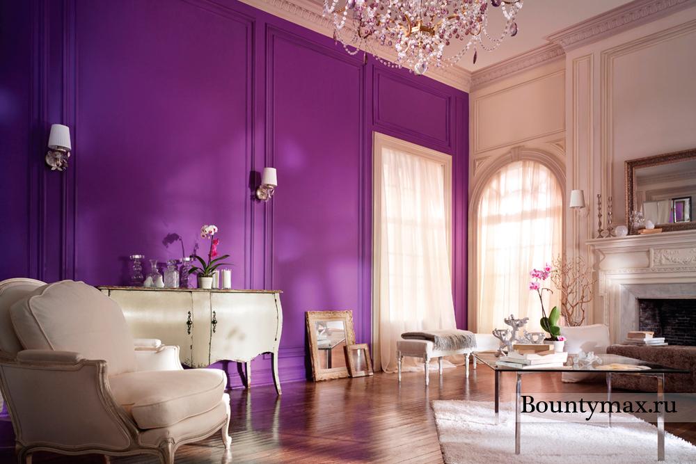 Цвет фиолетовый в интерьере фото
