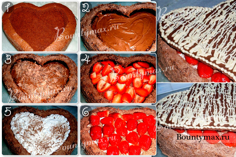 Как сделать торт в виде сердце