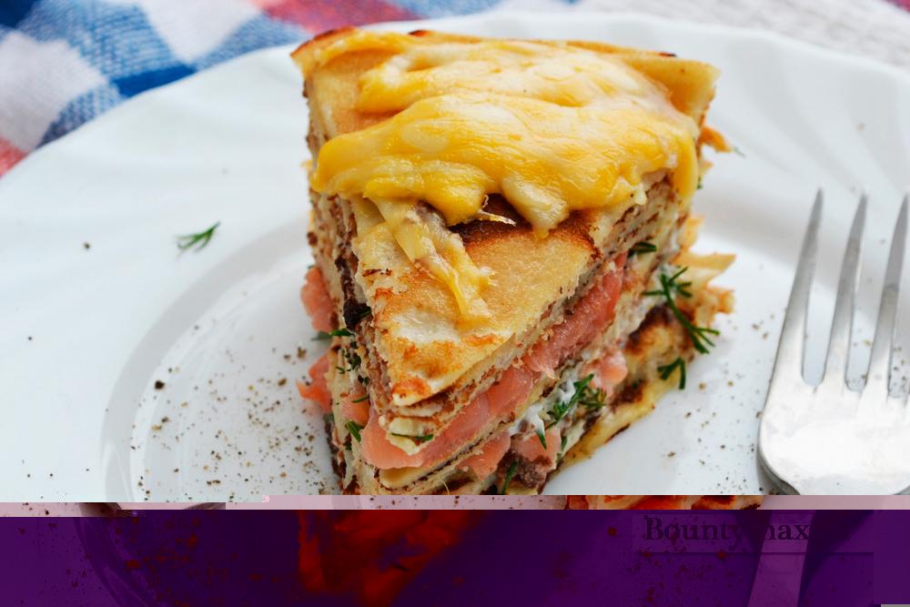 Блинный пирог рецепт с рыбой 44