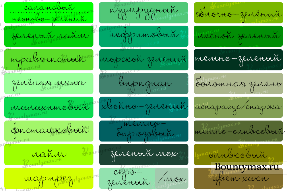 Названия зеленого цвета
