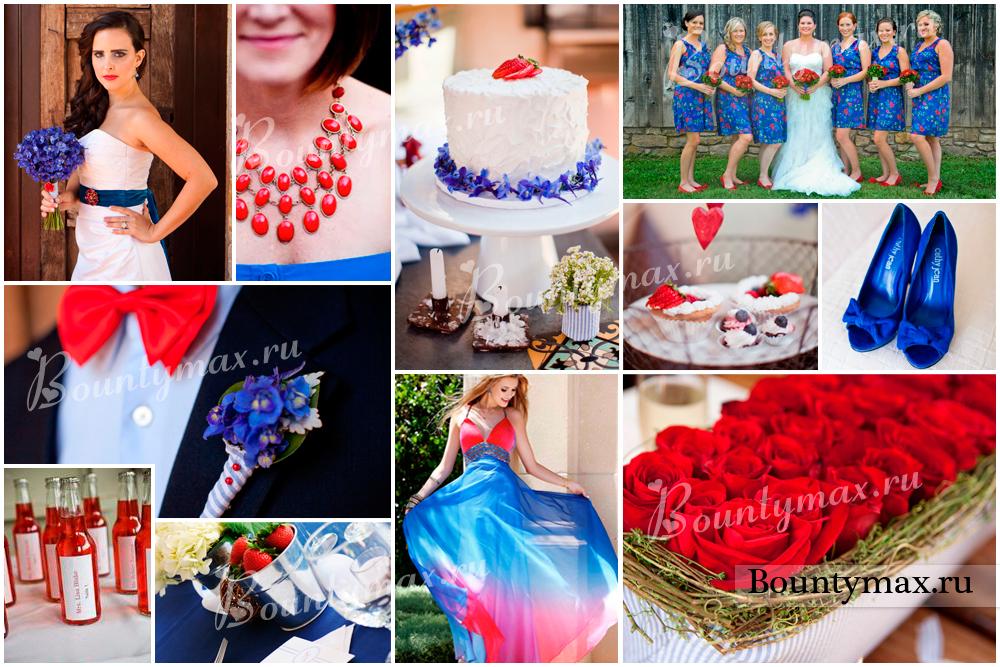 нас свадьба в белом красном синем цвете вазы, подносы