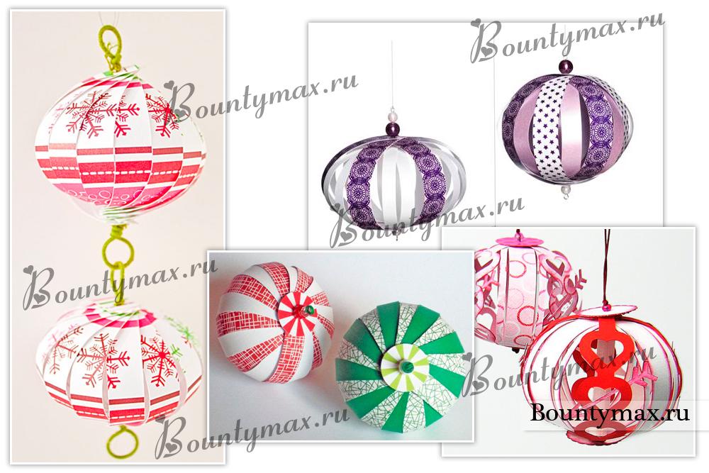 Новогодние игрушки своими руками шары из бумаги