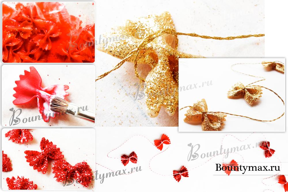Фото новогоднее украшение из макарон 47
