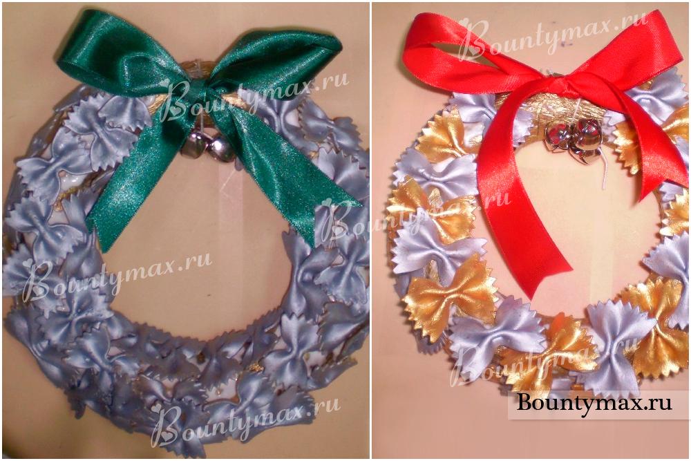 Венки новогодние своими руками из макарон 24