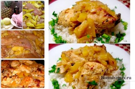 рецепт мясо с ананасами в духовке с фото