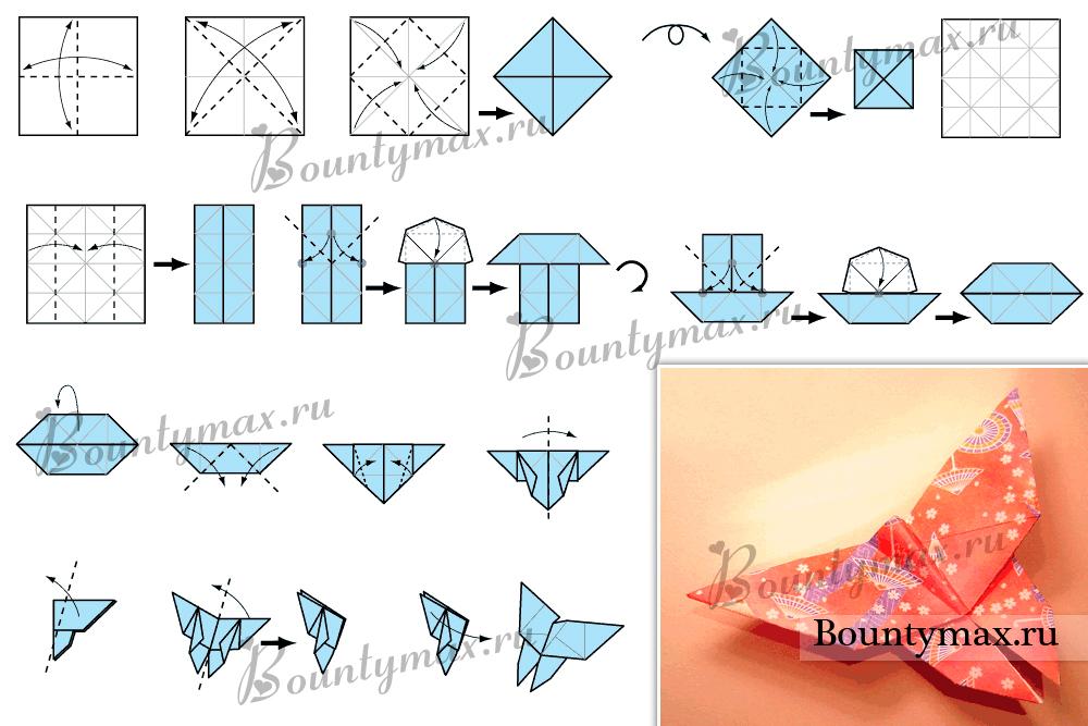 Бабочка из бумаги оригами своими руками 66