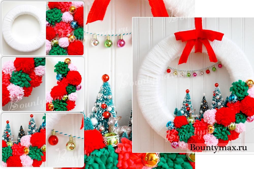 Как сделать новогодний венок на дверь из бумаги