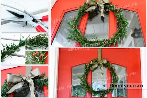 Как сделать новогодний венок на дверь своими руками