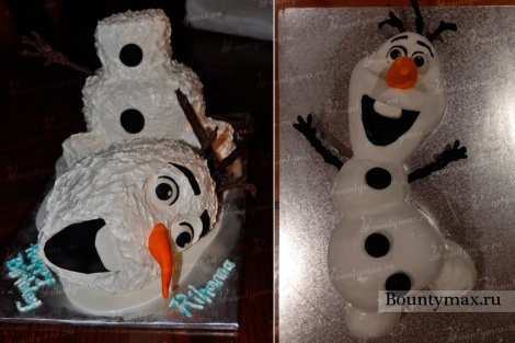 Как сделать «3д торт Олаф» – очаровательный снеговик из холодного сердца