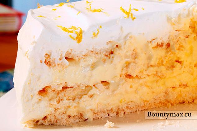 Лимонный торт безе