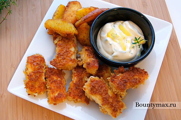 Рыбные палочки с лимонным соусом с тимьяном