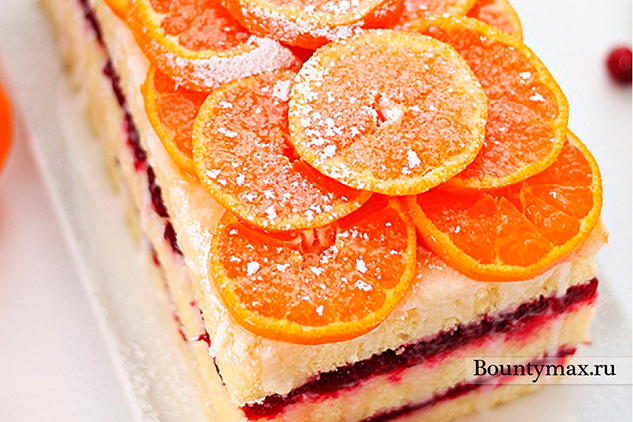 Апельсиновый торт с клюквенным сиропом