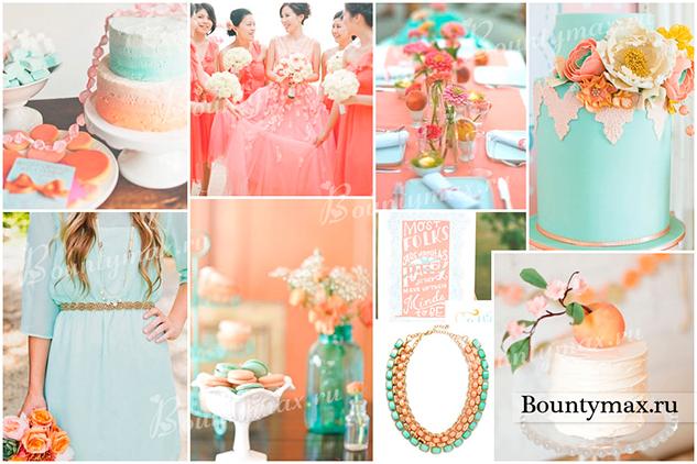 Свадьба в мятном и коралловом цвете