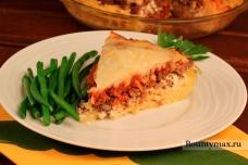 Пирог с мясом и сыром из спагетти