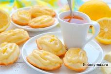 Лимонные мадлены с шоколадным кремом