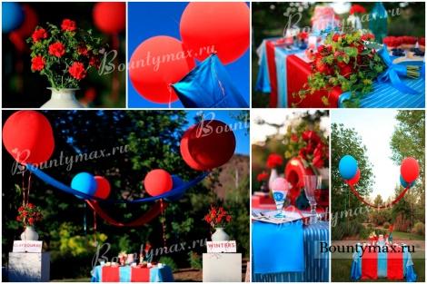 Свадьба в голубом цвете с яркими красными акцентами
