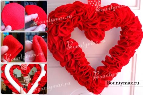 Как сделать венок на дверь своими руками на день святого Валентина