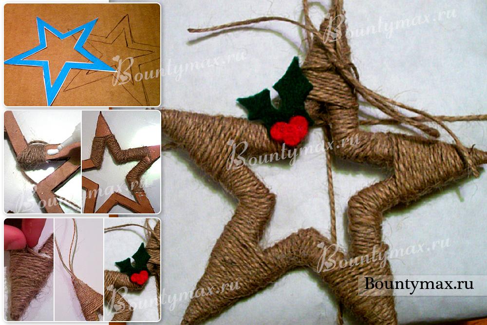 Звезда на елку из ниток своими руками