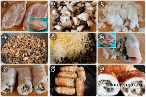 Куриные грудки фаршированные грибами с луком и сыром
