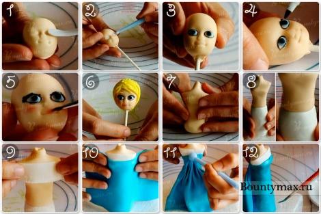 Мастер класс фигурка Эльзы из мастики пошагово своими руками