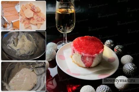 Порционные клубничные чизкейки со сливочным сыром без выпечки